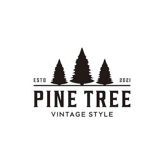 Abeto perene conífera conífera cipreste pinheiro floresta retrô vintage hipster linha de logotipo