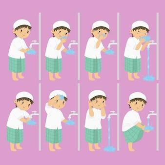 Ablução, passos de wudhu para coleção de vetores de crianças