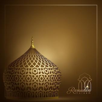 Abóbada da mesquita islâmica com fundo geométrico árabe