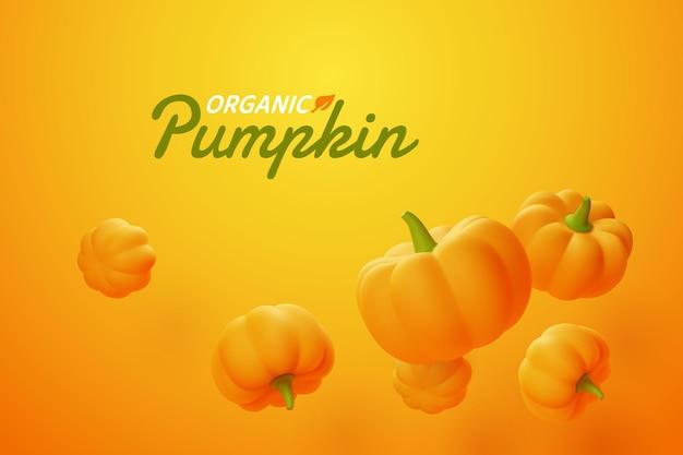 Abóbora caindo em fundo laranja, vegetais orgânicos e conceito de alimentos frescos saudáveis, vetor eps10.