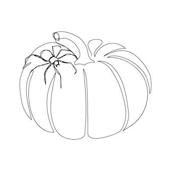 Abóbora com aranha uma linha de arte linha contínua de tarântula de karakurt de colheita de halloween