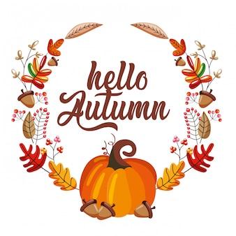 Abóbora com bolotas ao longo de outono grinalda