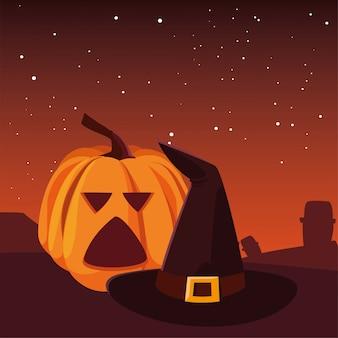 Abóbora com chapéu feliz festa de halloween