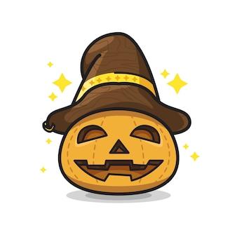Abóbora com chapéu ilustração de arte de linha fofa de halloween
