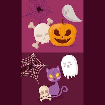 Abóbora com conceito de halloween