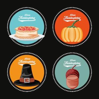 Abóbora com conjunto de ícones do dia de ação de graças
