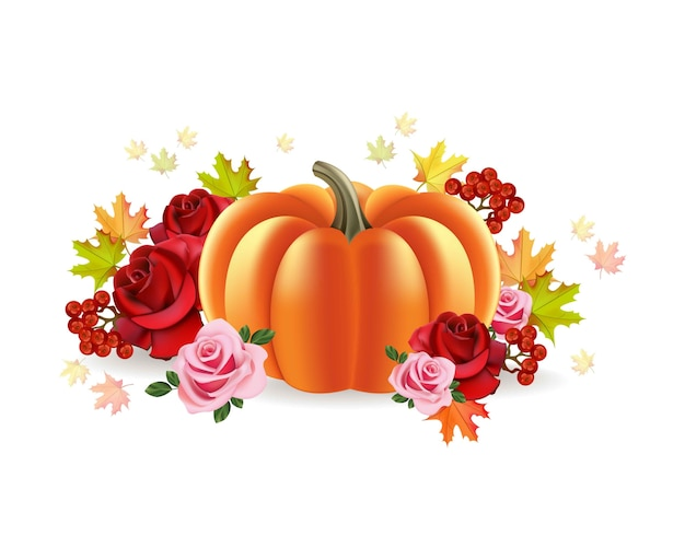 Abóbora com fundo de outono de rosas decoração de ilustração vetorial