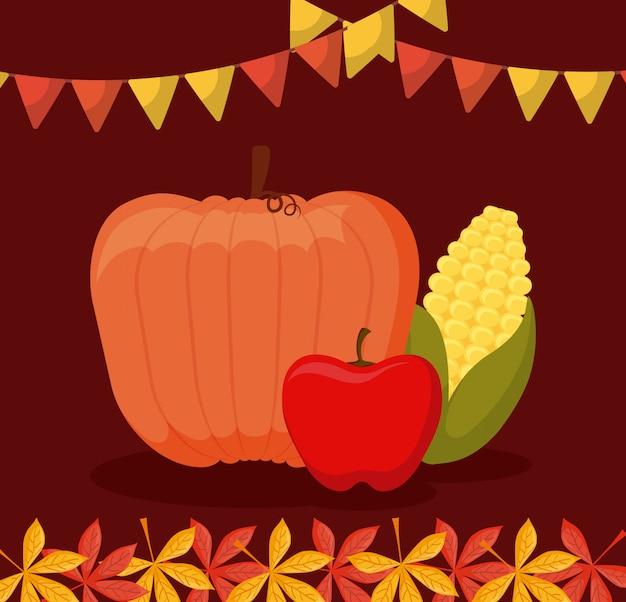 Abóbora com maçã e sabugo de ação de graças