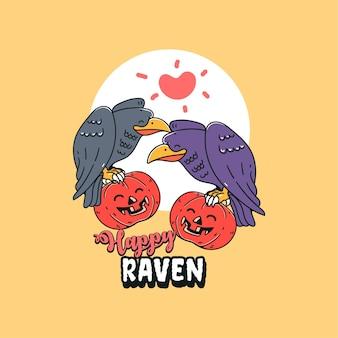 Abóbora com o corvo se apaixonando. ilustração do personagem feliz dia das bruxas com o corvo