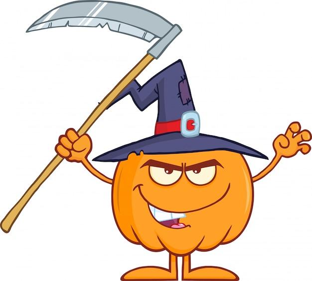 Abóbora com um chapéu de bruxa e foice