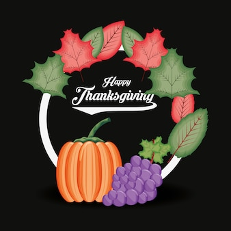 Abóbora com uvas e quadro de dia de ação de graças