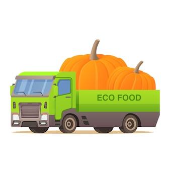 Abóbora de caminhão de entrega de comida. colheita de vegetais de outono. vista lateral do veículo automóvel.