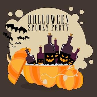 Abóbora de cartaz de halloween com bebidas