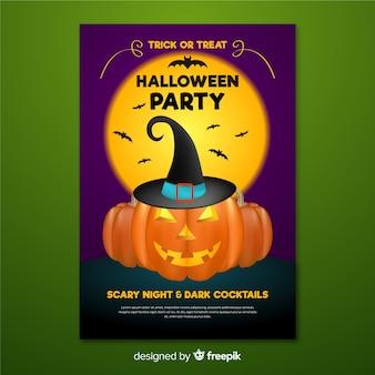 Abóbora de cartaz de halloween com chapéu de bruxa