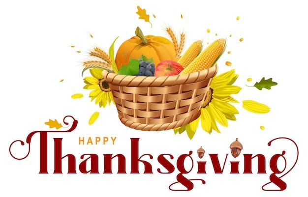 Abóbora de cesta cheia de colheita rica, milho, trigo, maçã, uvas. letras de texto ornamentado de ação de graças feliz para o cartão. isolado em desenho branco