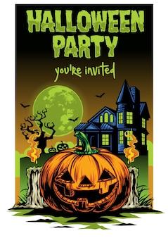 Abóbora de design de cartão de dia das bruxas e casa assombrada