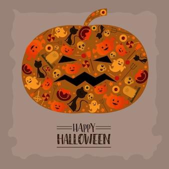 Abóbora de forma de ícone de halloween.