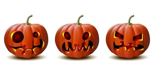 Abóbora de halloween assustador jack o lantern com luz de velas dentro, um conjunto de abóboras de halloween em vetor com rostos diferentes para ícones e decoraçõesisoladas em fundo branco. ilustração vetorial.