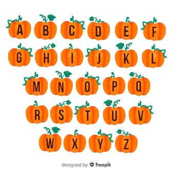 Abóbora de halloween com alfabeto caule
