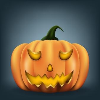 Abóbora de halloween com cara assustadora, ilustração.