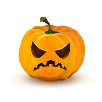 Abóbora de halloween com cara terrível isolada no branco