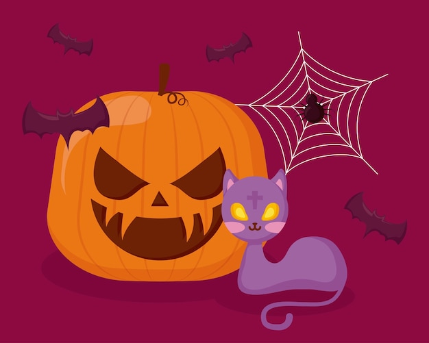 Abóbora de halloween com gato e morcegos