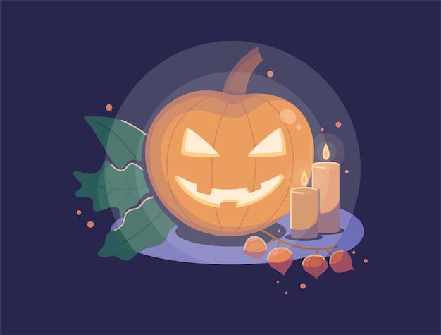 Abóbora de halloween com ilustração vetorial plana de velas para seu projeto de outono