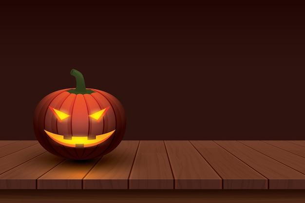 Abóbora de halloween com luz em madeira