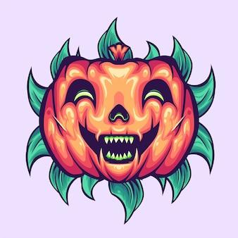 Abóbora de halloween com mascote de folhas
