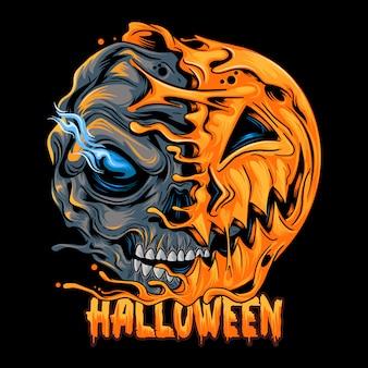 Abóbora de halloween com metade do crânio, parece assustador e legal. capas editáveis arte