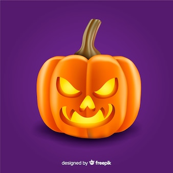 Abóbora de halloween com raiva fofa realista