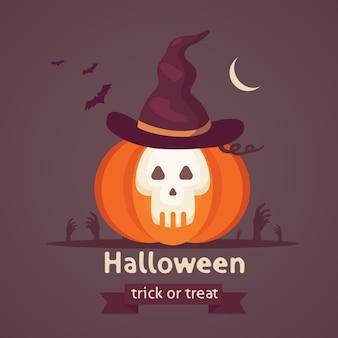 Abóbora de halloween com rosto bonito em fundo escuro. ilustração dos desenhos animados.