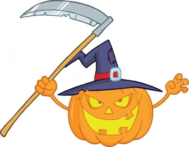 Abóbora de halloween com um chapéu de bruxa e foice