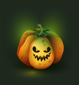 Abóbora de halloween com uma cabeça cheia de fumaça e brilho abóbora de halloween com uma cara assustadora Vetor Premium