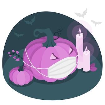 Abóbora de halloween com uma ilustração do conceito de máscara facial