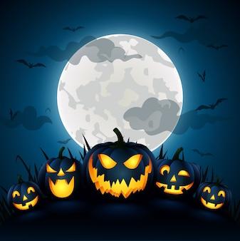 Abóbora de halloween com uma lua azul, ilustração vetorial