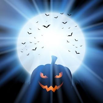 Abóbora de halloween contra uma lua com morcegos