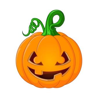 Abóbora de halloween de desenho animado com uma cara assustadora em fundo branco