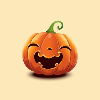 Abóbora de halloween de vetor realista. abóbora de halloween de rosto feliz isolada na luz de fundo. eps 10