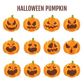 Abóbora de halloween dos desenhos animados. a sombra da abóbora esculpiu um rosto fantasma no halloween.