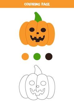 Abóbora de halloween dos desenhos animados de cor. planilha para crianças.
