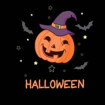 Abóbora de halloween dos desenhos animados, usando chapéu de bruxa isolado