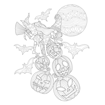 Abóbora de halloween e bruxa mão ilustrações desenhadas.