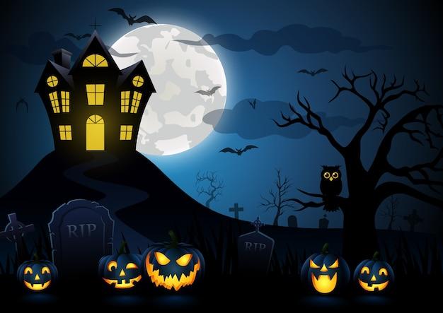 Abóbora de halloween e casa assustadora