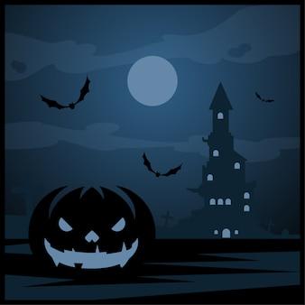 Abóbora de halloween e castelo escuro com a lua azul no fundo do cemitério
