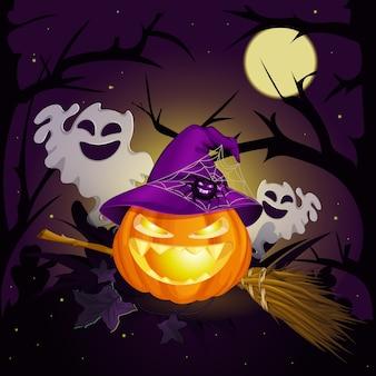 Abóbora de halloween e fantasmas.