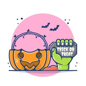Abóbora de halloween e ilustração de zumbi de mão. mão zombie segurando o conceito de pedra. estilo flat cartoon