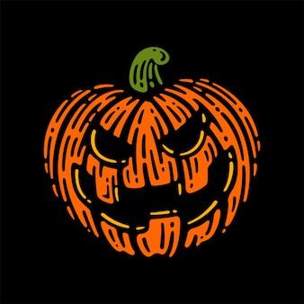 Abóbora de halloween em fundo escuro. ilustração vetorial.