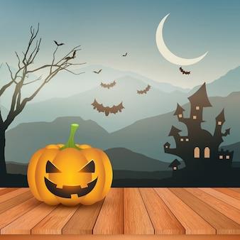 Abóbora de halloween em um deck de madeira contra uma paisagem assustador