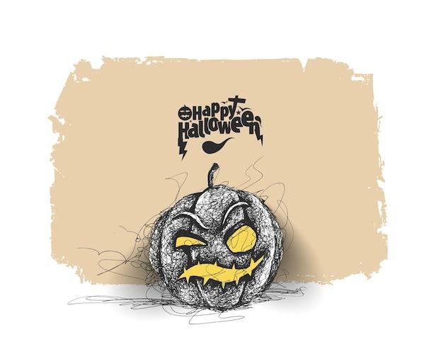 Abóbora de halloween feliz, desenho de vetor de esboço desenhado à mão.